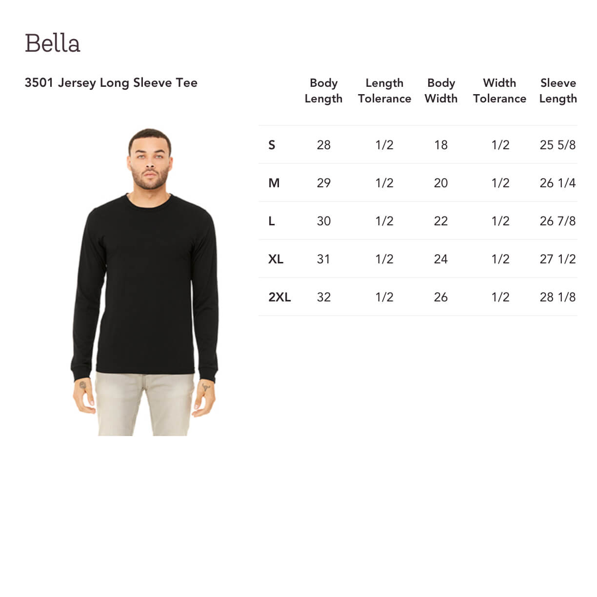 5b963bfb548a4 This Bella classic unisex tee fits like a well-loved favorite, featuring a  classic crew neck, long sleeves and superior combed and ring-spun jersey  cotton ...